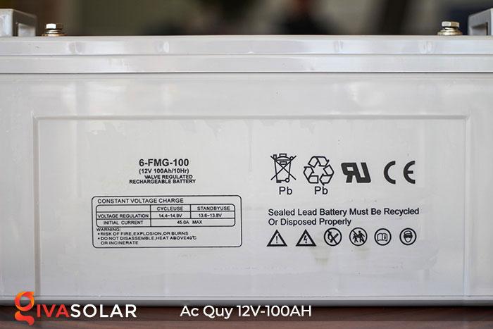 Ắc quy dùng cho hệ thống năng lượng mặt trời 12V100Ah 7