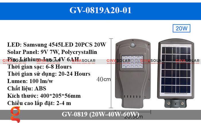 Đèn chiếu sáng đường phố năng lượng mặt trời GV-0819 20W
