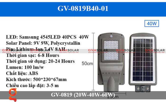 Đèn chiếu sáng đường phố năng lượng mặt trời GV-0819 40W