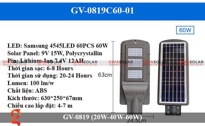 Đèn chiếu sáng đường phố năng lượng mặt trời GV-0819 60W