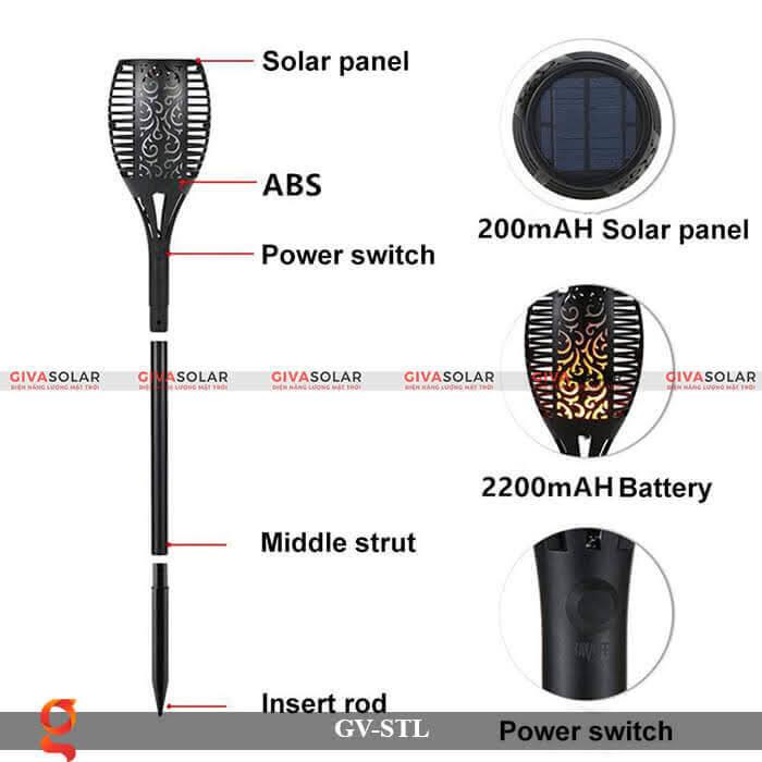 Đèn ngọn lửa trang trí năng lượng mặt trời GV-STL 8
