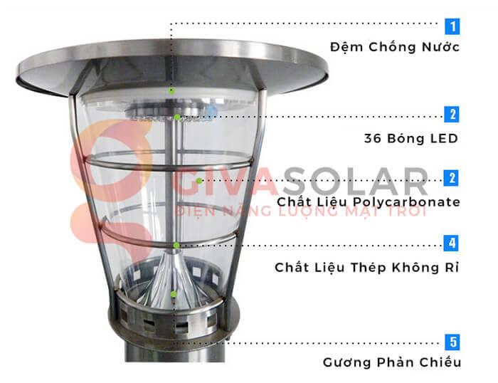 Đèn treo tường năng lượng mặt trời GV-2602B 4