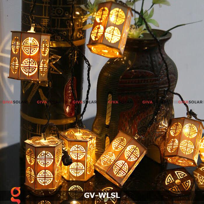 Dây đèn led đèn lồng gỗ trang trí GV-WLSL 1