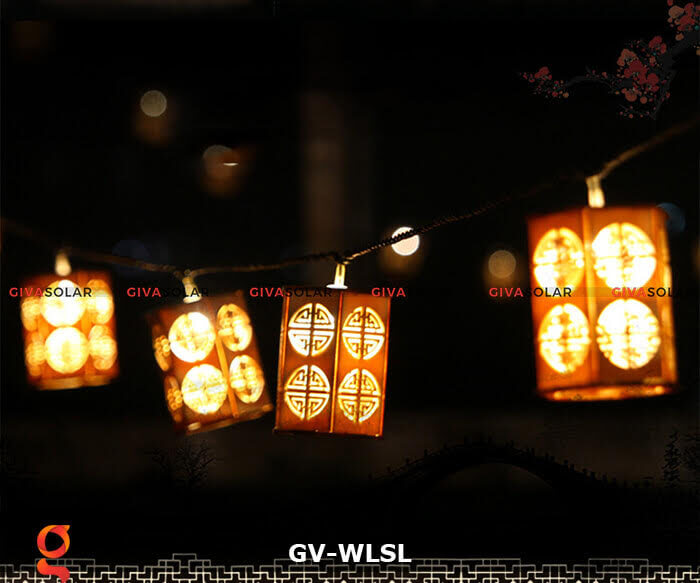 Dây đèn led đèn lồng gỗ trang trí GV-WLSL 10