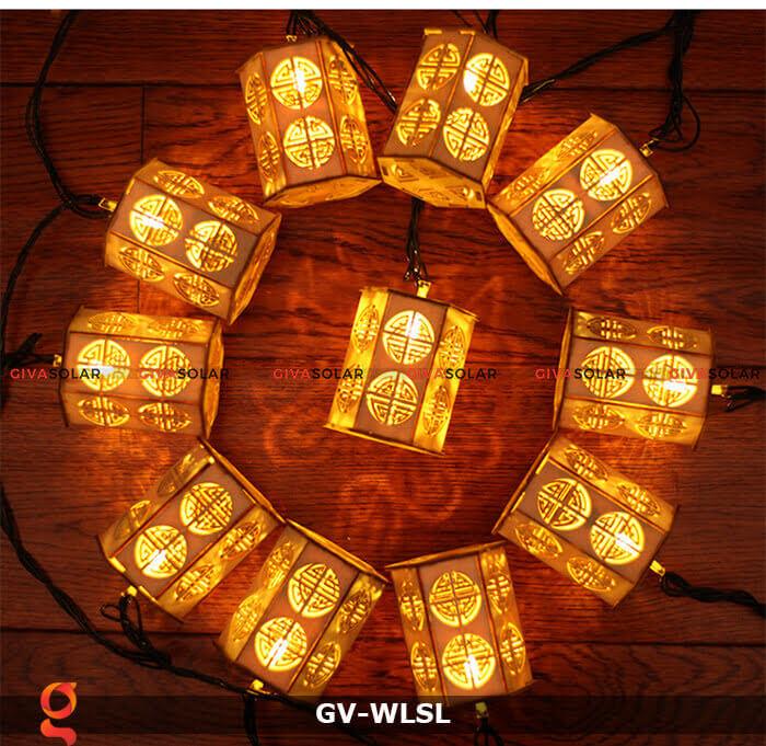 Dây đèn led đèn lồng gỗ trang trí GV-WLSL 4