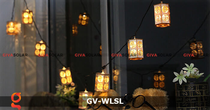 Dây đèn led đèn lồng gỗ trang trí GV-WLSL 8