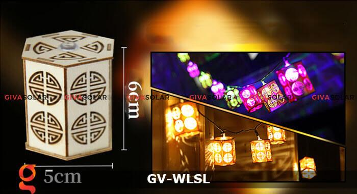 Dây đèn led đèn lồng gỗ trang trí GV-WLSL 9