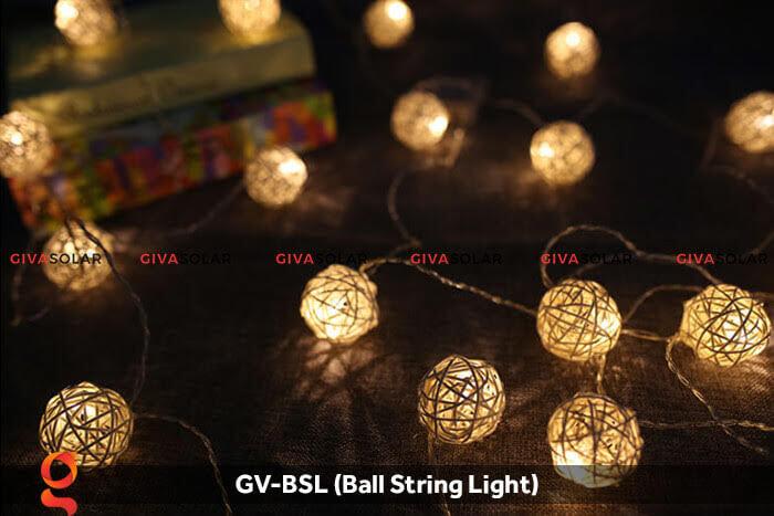 Dây đèn led quả cầu mây dùng trang trí GV-BSL 12