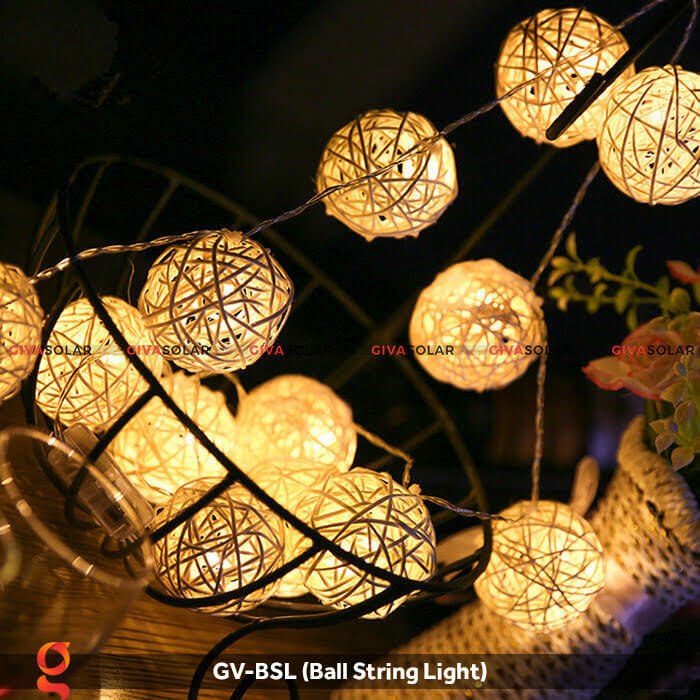 Dây đèn led quả cầu mây dùng trang trí GV-BSL 18