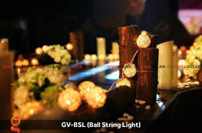 Dây đèn led quả cầu mây dùng trang trí GV-BSL 5