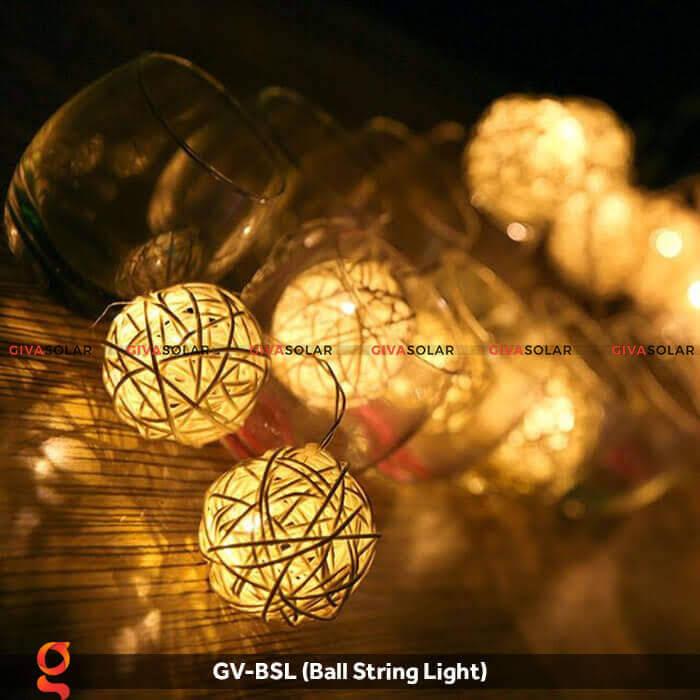 Dây đèn led quả cầu mây dùng trang trí GV-BSL 7