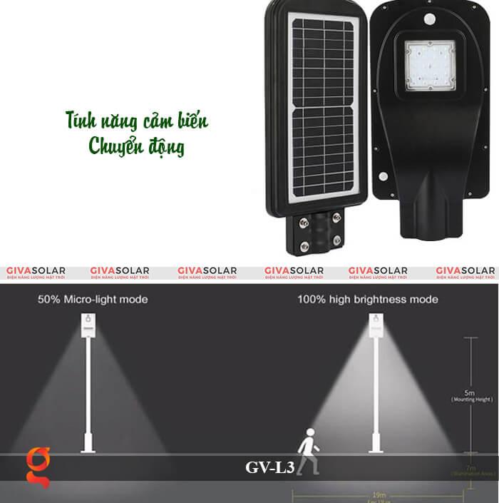 Đèn đường năng lượng mặt trời có cảm biến GV-SM-L3 20W 6
