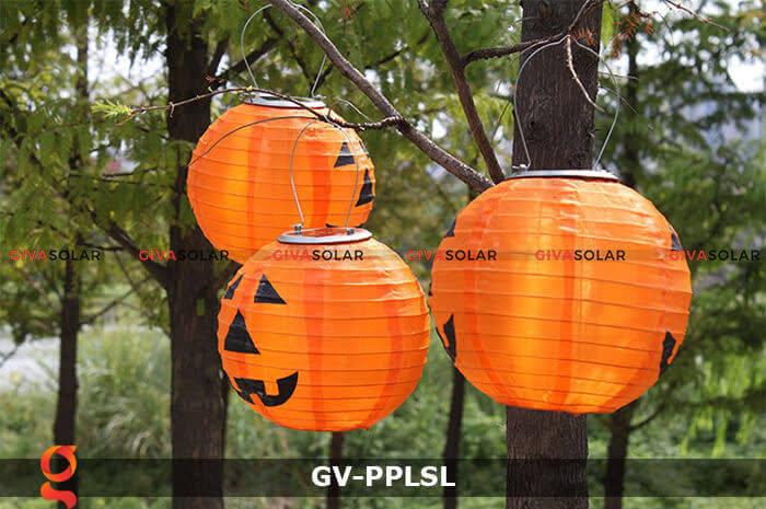Đèn lồng vải bí ngô trang trí Halloween năng lượng mặt trời GV-PPLSL 1