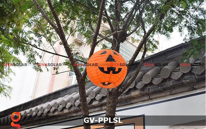 Đèn lồng vải bí ngô trang trí Halloween năng lượng mặt trời GV-PPLSL 10