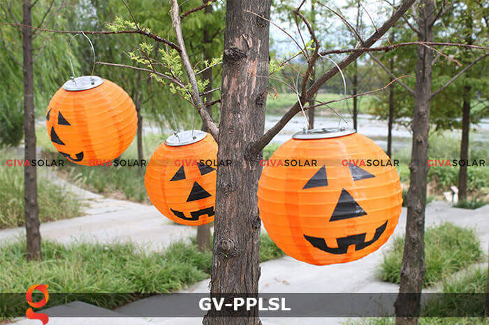 Đèn lồng vải bí ngô trang trí Halloween năng lượng mặt trời GV-PPLSL 6
