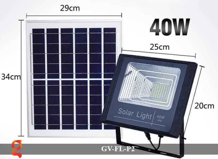 Đèn pha sử dụng năng lượng mặt trời GV-FL-P2 40w