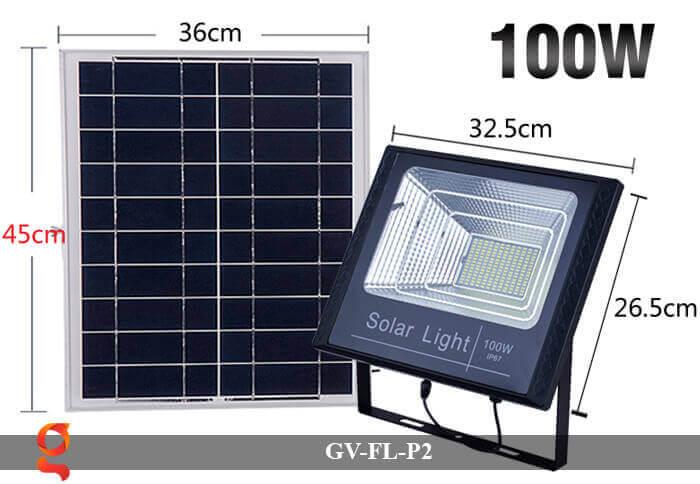 Đèn pha sử dụng năng lượng mặt trời GV-FL-P2 100w