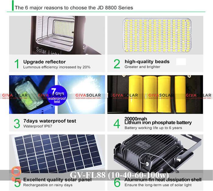 Đèn pha Led năng lượng mặt trời GV-FL88 14