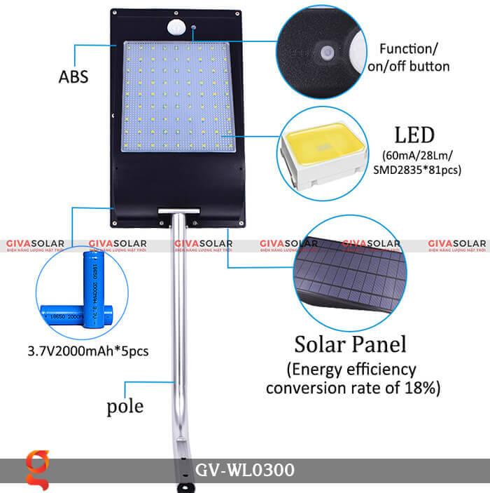 Đèn treo tường năng lượng mặt trời GV-WL0300 5