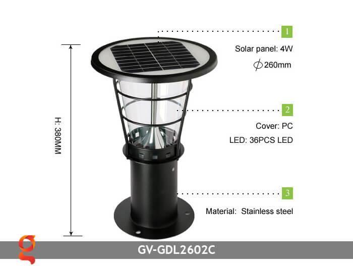 Đèn lối đi năng lượng mặt trời GV-GDL2602C 4