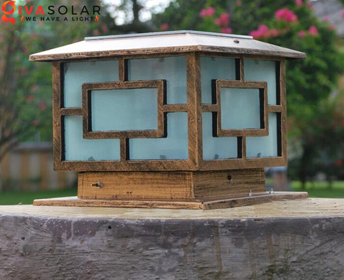 Đèn trụ cổng năng lượng mặt trời kiểu vuông