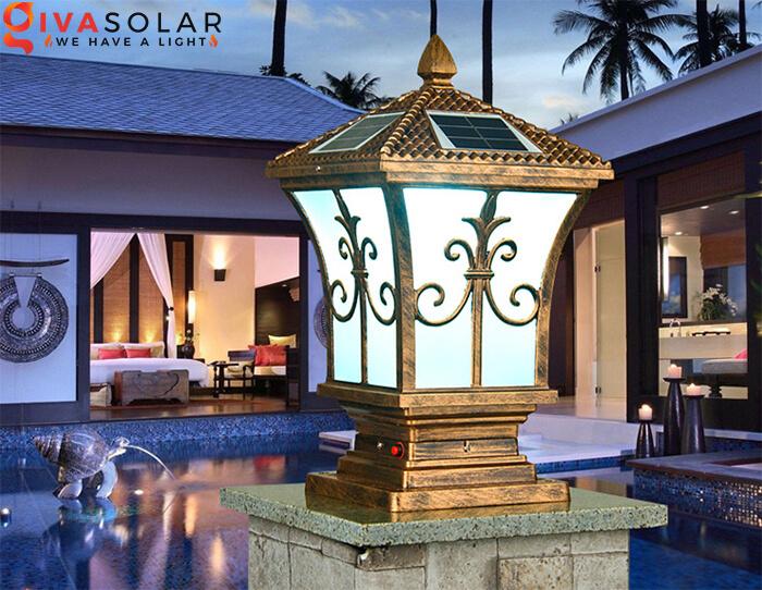 Đèn trụ cổng năng lượng mặt trời kiểu tháp 4 chiều