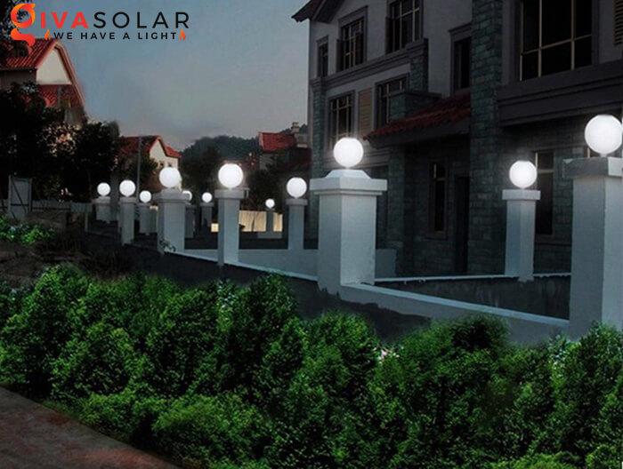 Đèn trụ cổng năng lượng mặt trời kiểu tròn