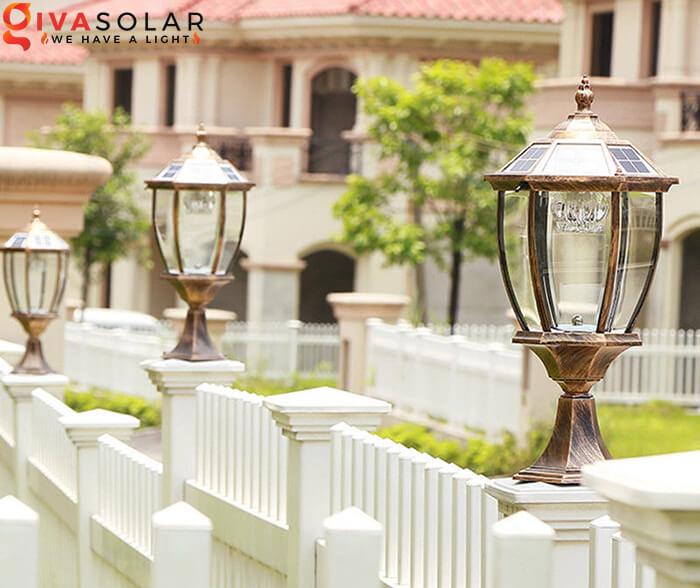 Đèn trụ cổng năng lượng mặt trời kiểu lục giác