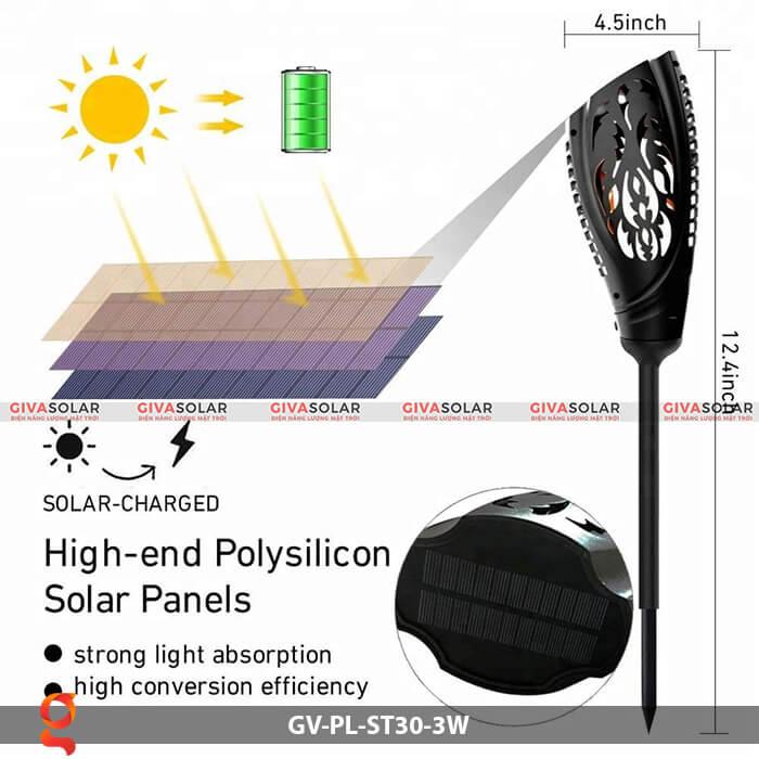 Đèn ngọn đuốc năng lượng mặt trời GV-PL-ST30-3W 3
