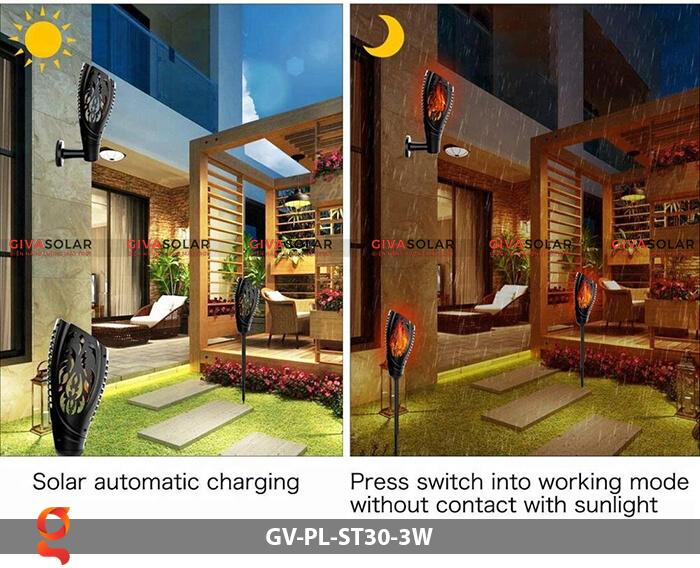 Đèn ngọn đuốc năng lượng mặt trời GV-PL-ST30-3W 5