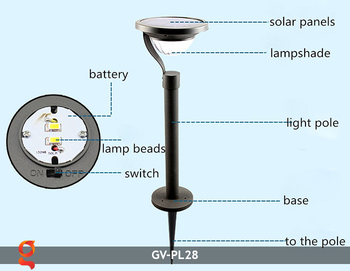 Đèn sân vườn năng lượng mặt trời GV-PL28 24