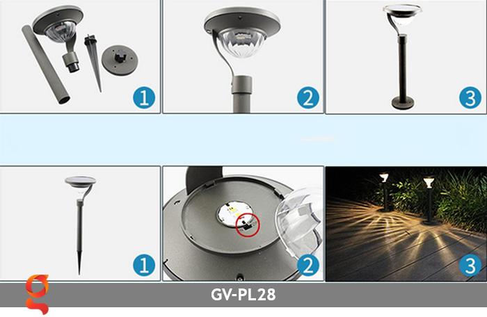 Đèn sân vườn năng lượng mặt trời GV-PL28 25