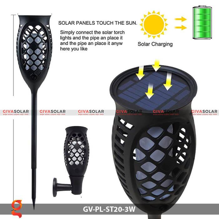 Đèn ngọn lửa năng lượng mặt trời GV-PL-ST20-3W 2