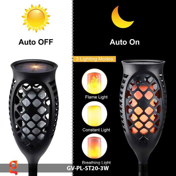 Đèn ngọn lửa năng lượng mặt trời GV-PL-ST20-3W 4