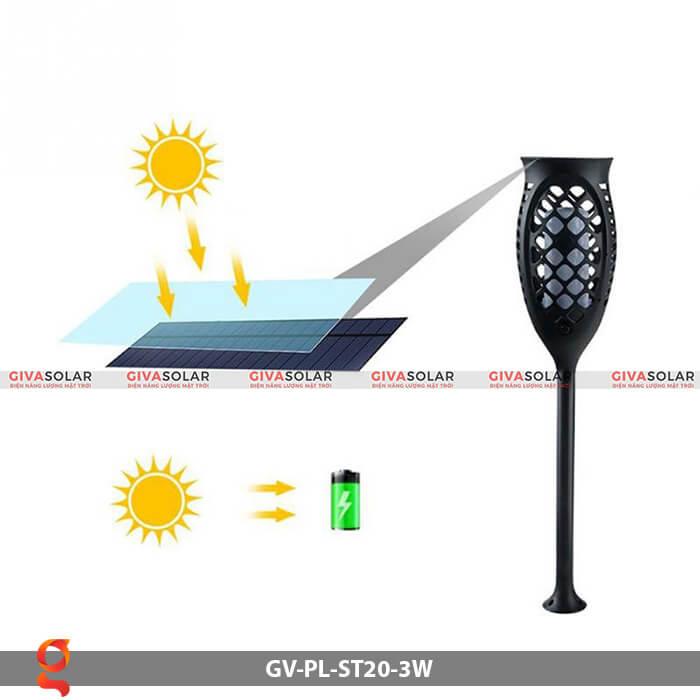 Đèn ngọn lửa năng lượng mặt trời GV-PL-ST20-3W 7