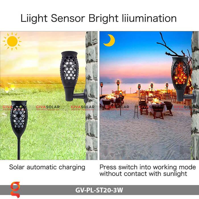 Đèn ngọn lửa năng lượng mặt trời GV-PL-ST20-3W 9