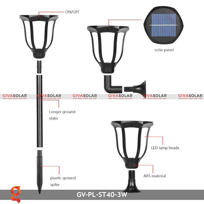 Đèn ngọn lửa năng lượng mặt trời 3 trong 1 GV-ST40-3W 3
