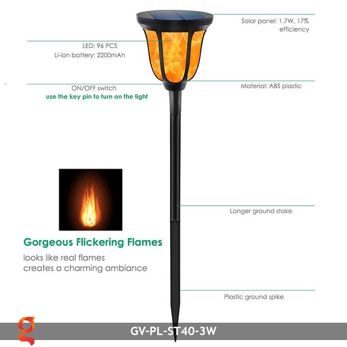 Đèn ngọn lửa năng lượng mặt trời 3 trong 1 GV-ST40-3W 5