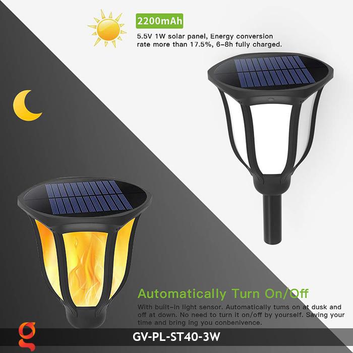 Đèn ngọn lửa năng lượng mặt trời 3 trong 1 GV-ST40-3W 7