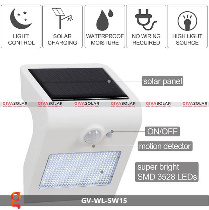 Đèn năng lượng mặt trời ốp tường GV-WL-SW15 2