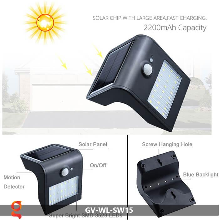 Đèn năng lượng mặt trời ốp tường GV-WL-SW15 4