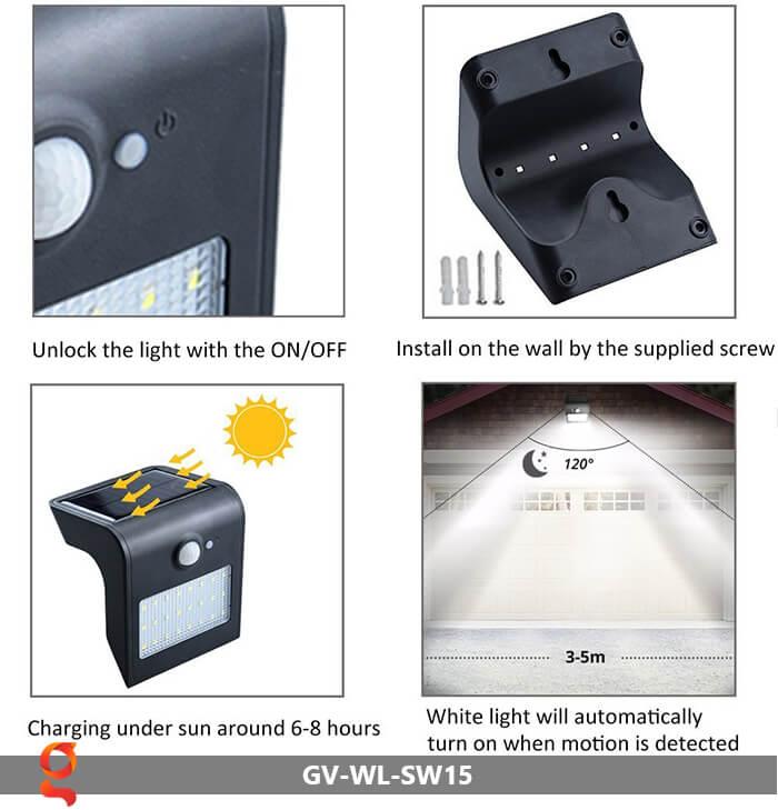 Đèn năng lượng mặt trời ốp tường GV-WL-SW15 5
