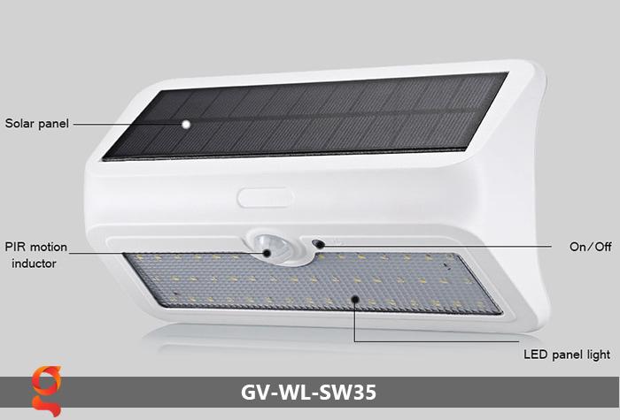 Đèn led năng lượng mặt trời ốp tường GV-WL-SW35 3