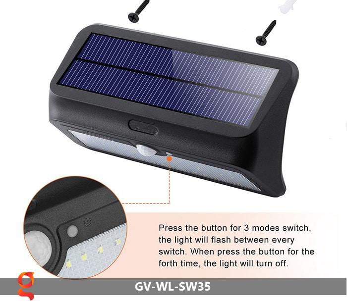 Đèn led năng lượng mặt trời ốp tường GV-WL-SW35 6