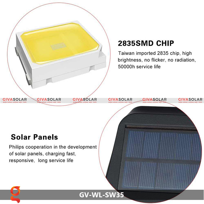 Đèn led năng lượng mặt trời ốp tường GV-WL-SW35 9