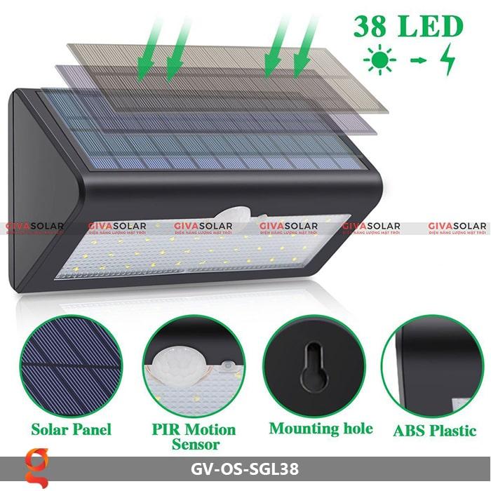 Đèn ốp tường năng lượng mặt trời GV-OS-SGL38 4