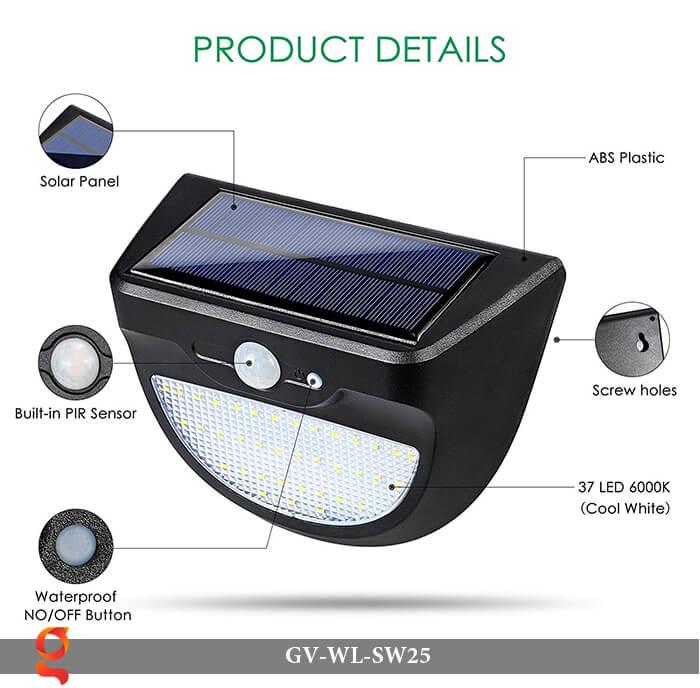 Đèn ốp tường năng lượng mặt trời có cảm ứng GV-WL-SW25 3
