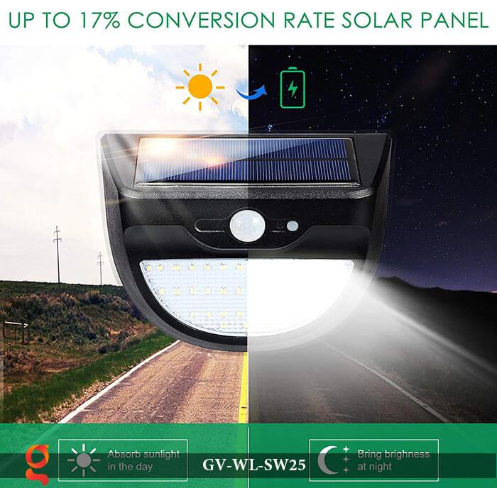 Đèn ốp tường năng lượng mặt trời có cảm ứng GV-WL-SW25 8