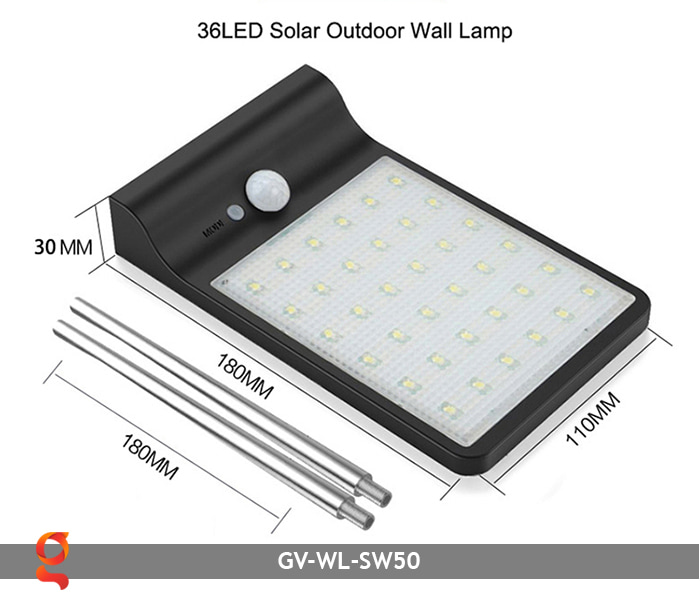 Đèn treo tường năng lượng mặt trời GV-WL-SW50 2