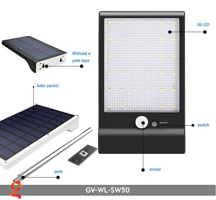 Đèn treo tường năng lượng mặt trời GV-WL-SW50 5